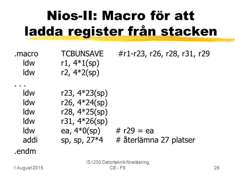 1 August 2015 IS1200 Datorteknik föreläsning CE - F926 Nios-II: Macro för att ladda register från stacken.macroTCBUNSAVE #r1-r23, r26, r28, r31, r29 ldwr1, 4*1(sp) ldwr2, 4*2(sp)...