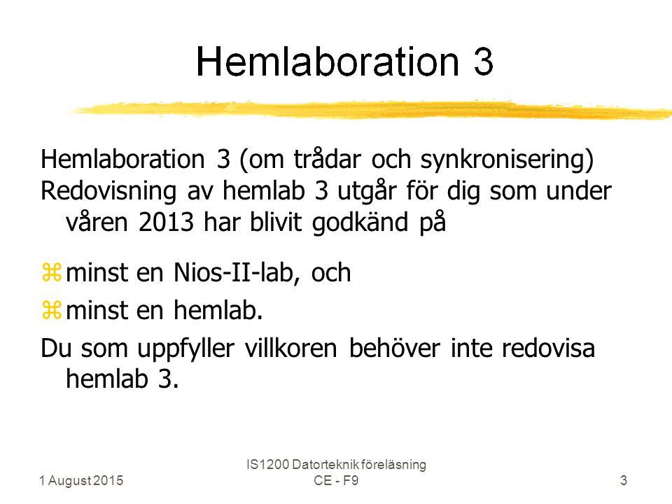 Hemlaboration 3 (om trådar och synkronisering) Redovisning av hemlab 3 utgår för dig som under våren 2013 har blivit godkänd på zminst en Nios-II-lab, och zminst en hemlab.
