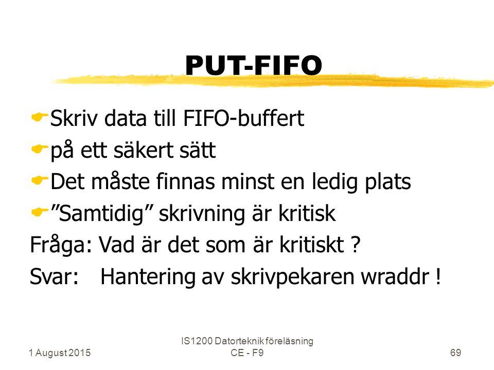 1 August 2015 IS1200 Datorteknik föreläsning CE - F969 PUT-FIFO  Skriv data till FIFO-buffert  på ett säkert sätt  Det måste finnas minst en ledig plats  Samtidig skrivning är kritisk Fråga: Vad är det som är kritiskt .