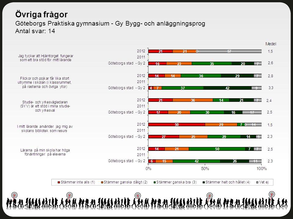 Övriga frågor Göteborgs Praktiska gymnasium - Gy Bygg- och anläggningsprog Antal svar: 14