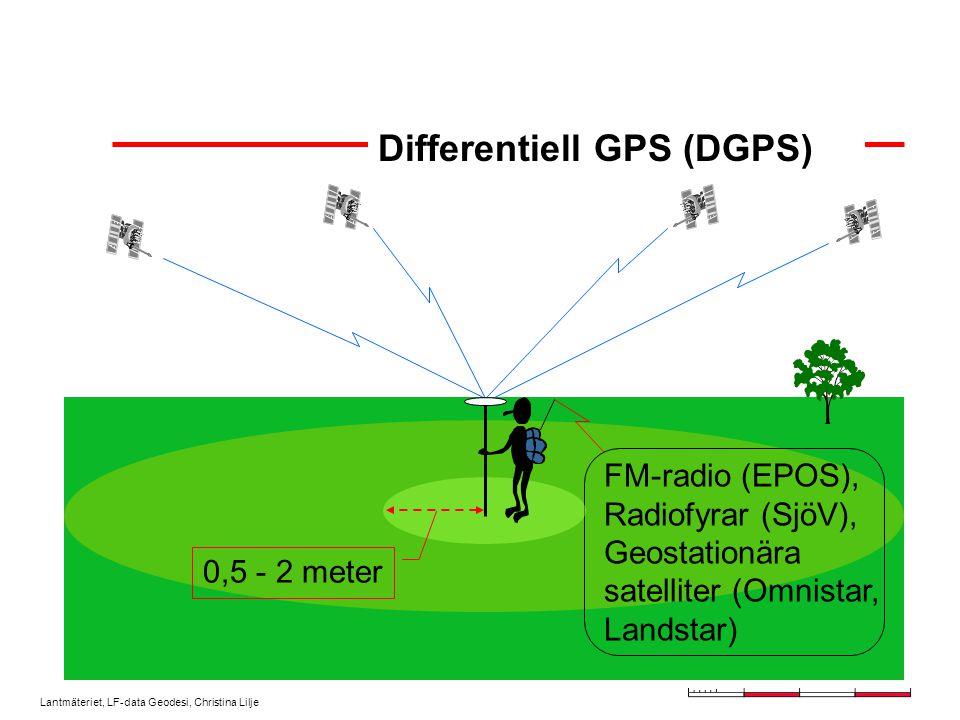 Lantmäteriet, LF-data Geodesi, Christina Lilje Differentiell GPS (DGPS) FM-radio (EPOS), Radiofyrar (SjöV), Geostationära satelliter (Omnistar, Landstar) 0,5 - 2 meter