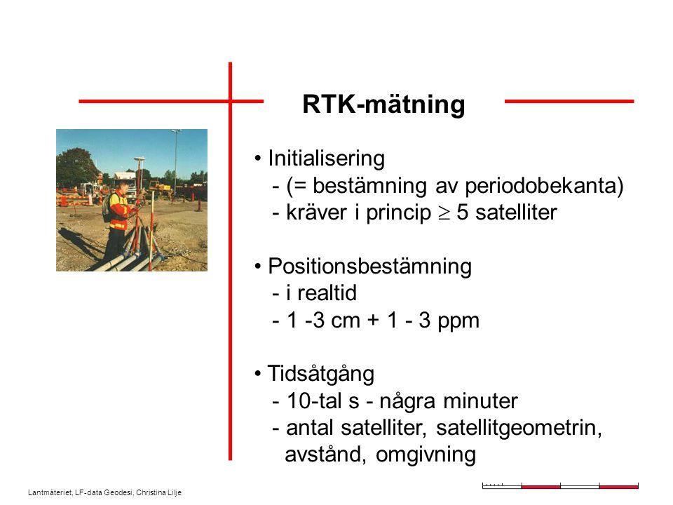 Lantmäteriet, LF-data Geodesi, Christina Lilje RTK-mätning Referensstation Tillfällig Fast (egen, tjänst) Rover