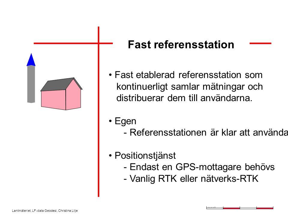 Lantmäteriet, LF-data Geodesi, Christina Lilje Tillfällig referensstation Korrektioner Känd eller inmätt punkt Egen datalänk Max avstånd ca 10 km Stöldrisk Rätt koordinat