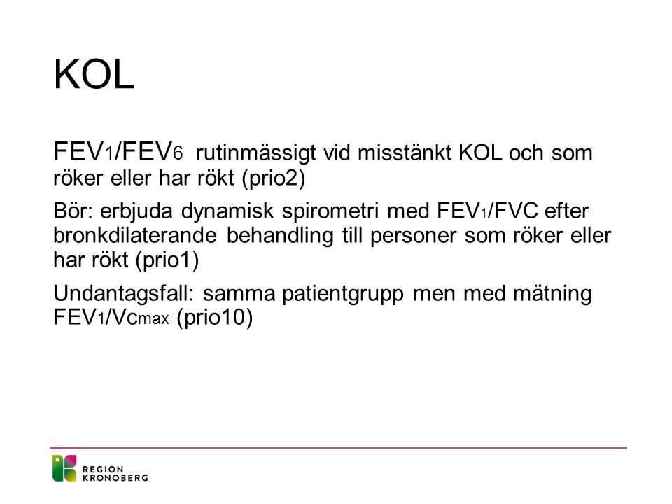 KOL FEV 1 /FEV 6 rutinmässigt vid misstänkt KOL och som röker eller har rökt (prio2) Bör: erbjuda dynamisk spirometri med FEV 1 /FVC efter bronkdilate