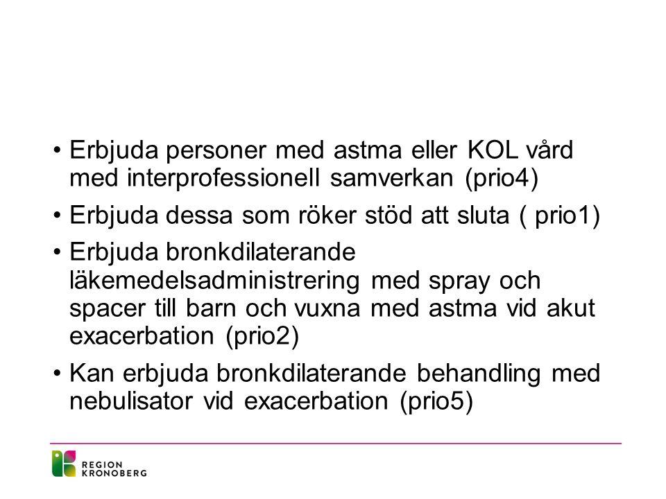 Erbjuda personer med astma eller KOL vård med interprofessionell samverkan (prio4) Erbjuda dessa som röker stöd att sluta ( prio1) Erbjuda bronkdilate