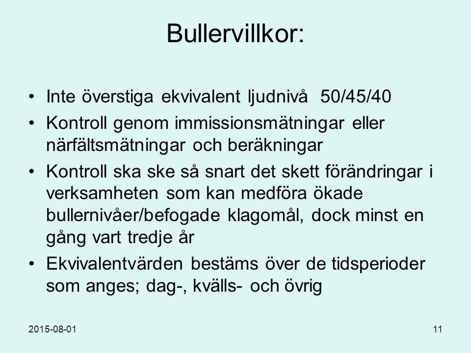 2015-08-0111 Bullervillkor: Inte överstiga ekvivalent ljudnivå 50/45/40 Kontroll genom immissionsmätningar eller närfältsmätningar och beräkningar Kontroll ska ske så snart det skett förändringar i verksamheten som kan medföra ökade bullernivåer/befogade klagomål, dock minst en gång vart tredje år Ekvivalentvärden bestäms över de tidsperioder som anges; dag-, kvälls- och övrig