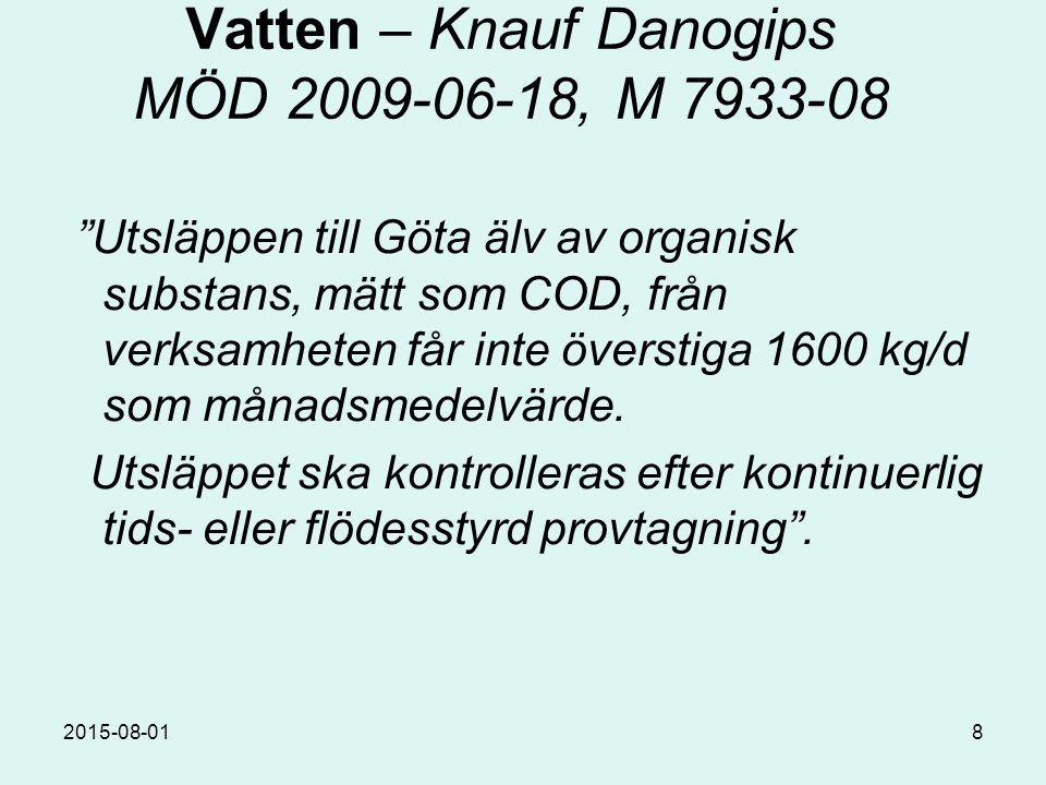 2015-08-018 Vatten – Knauf Danogips MÖD 2009-06-18, M 7933-08 Utsläppen till Göta älv av organisk substans, mätt som COD, från verksamheten får inte överstiga 1600 kg/d som månadsmedelvärde.