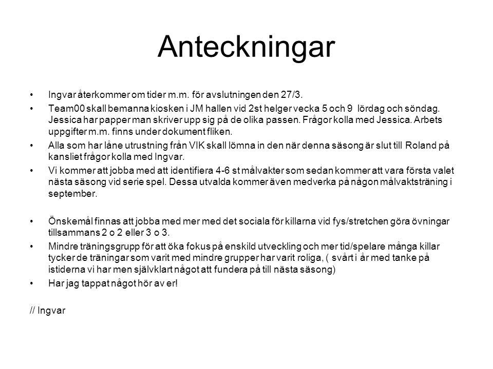 Anteckningar Ingvar återkommer om tider m.m. för avslutningen den 27/3.