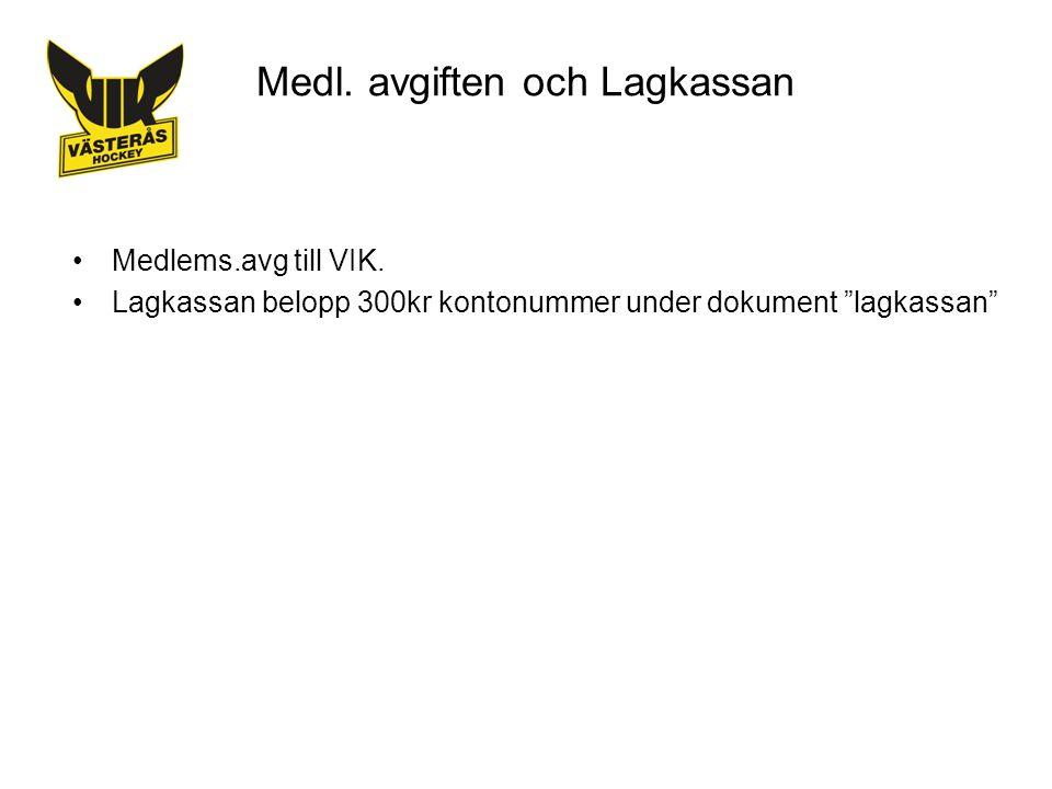 Medl. avgiften och Lagkassan Medlems.avg till VIK.