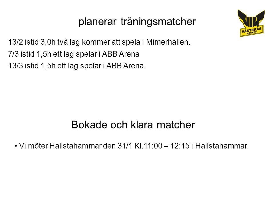 planerar träningsmatcher 13/2 istid 3,0h två lag kommer att spela i Mimerhallen.