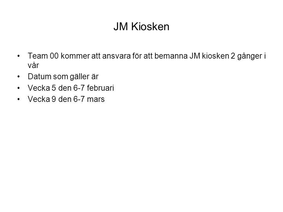 JM Kiosken Team 00 kommer att ansvara för att bemanna JM kiosken 2 gånger i vår Datum som gäller är Vecka 5 den 6-7 februari Vecka 9 den 6-7 mars