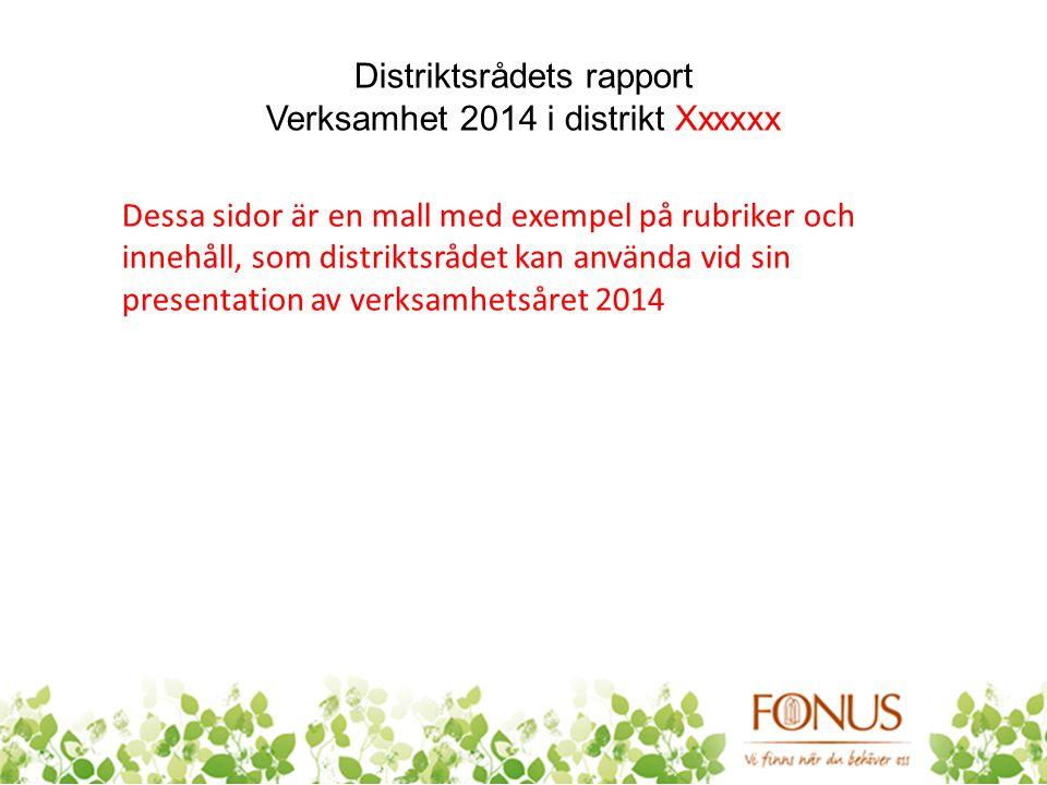 Distriktsrådets rapport Verksamhet 2014 i distrikt Xxxxxx Dessa sidor är en mall med exempel på rubriker och innehåll, som distriktsrådet kan använda vid sin presentation av verksamhetsåret 2014
