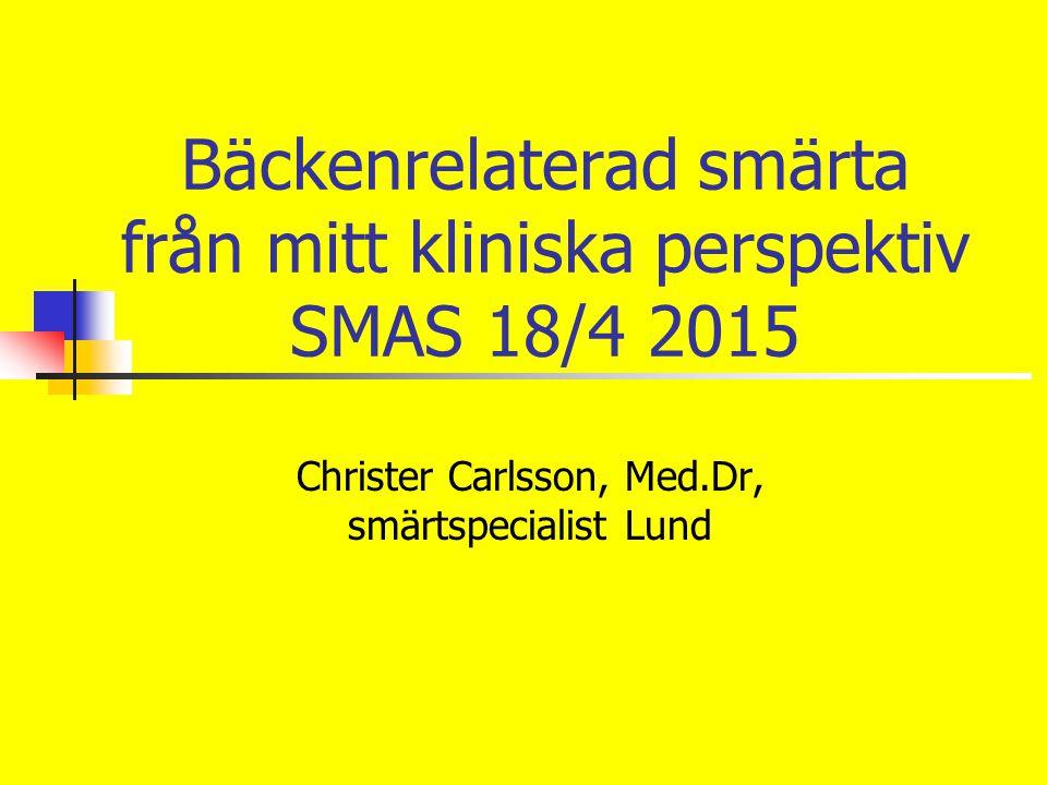 Bäckenrelaterad smärta från mitt kliniska perspektiv SMAS 18/4 2015 Christer Carlsson, Med.Dr, smärtspecialist Lund