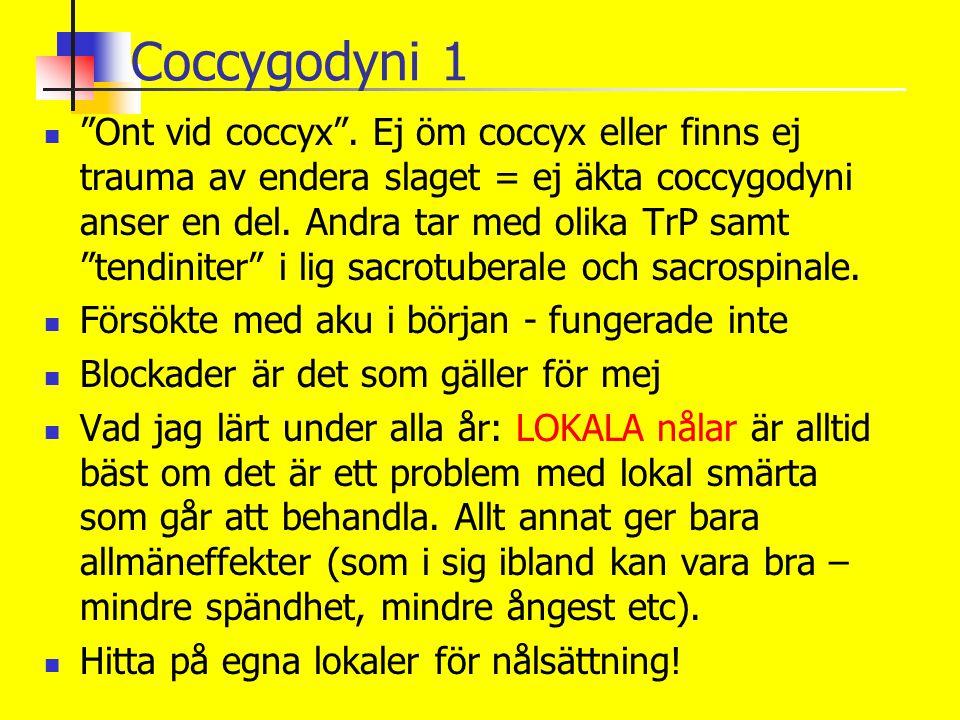 """Coccygodyni 1 """"Ont vid coccyx"""". Ej öm coccyx eller finns ej trauma av endera slaget = ej äkta coccygodyni anser en del. Andra tar med olika TrP samt """""""