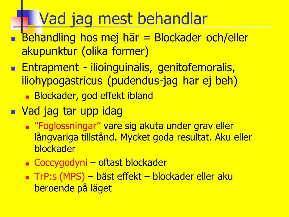 Vad jag mest behandlar Behandling hos mej här = Blockader och/eller akupunktur (olika former) Entrapment - ilioinguinalis, genitofemoralis, iliohypoga