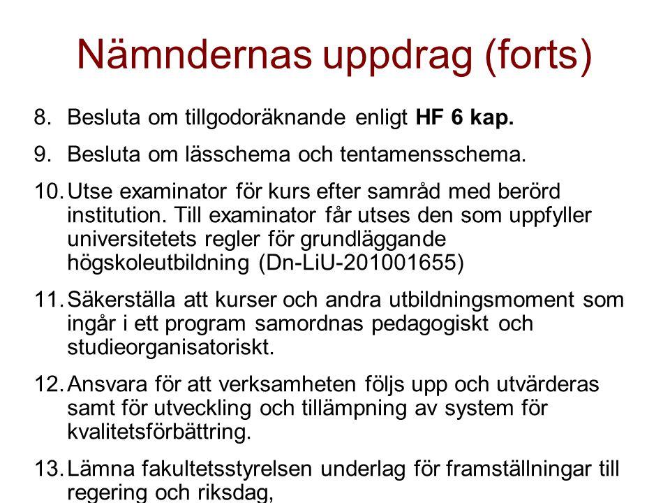 Nämndernas uppdrag (forts) 8.Besluta om tillgodoräknande enligt HF 6 kap.