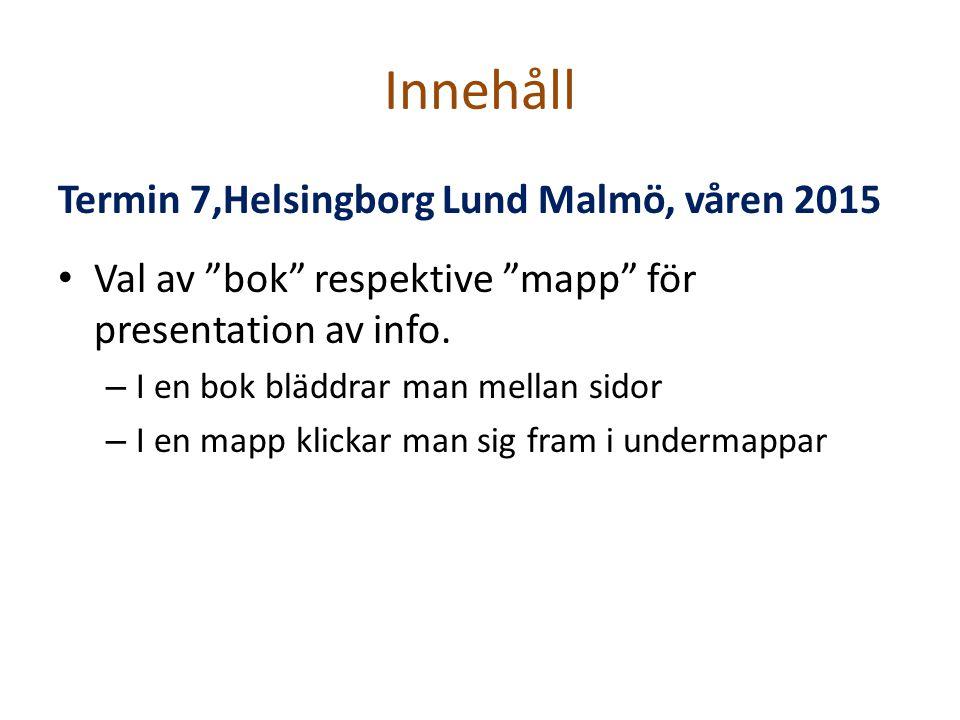 Innehåll Termin 7,Helsingborg Lund Malmö, våren 2015 Val av bok respektive mapp för presentation av info.