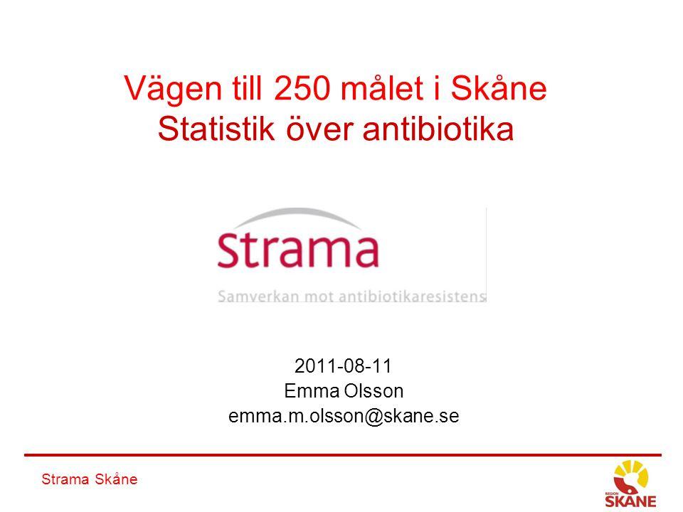 Strama Skåne Vägen till 250 målet i Skåne Statistik över antibiotika 2011-08-11 Emma Olsson emma.m.olsson@skane.se