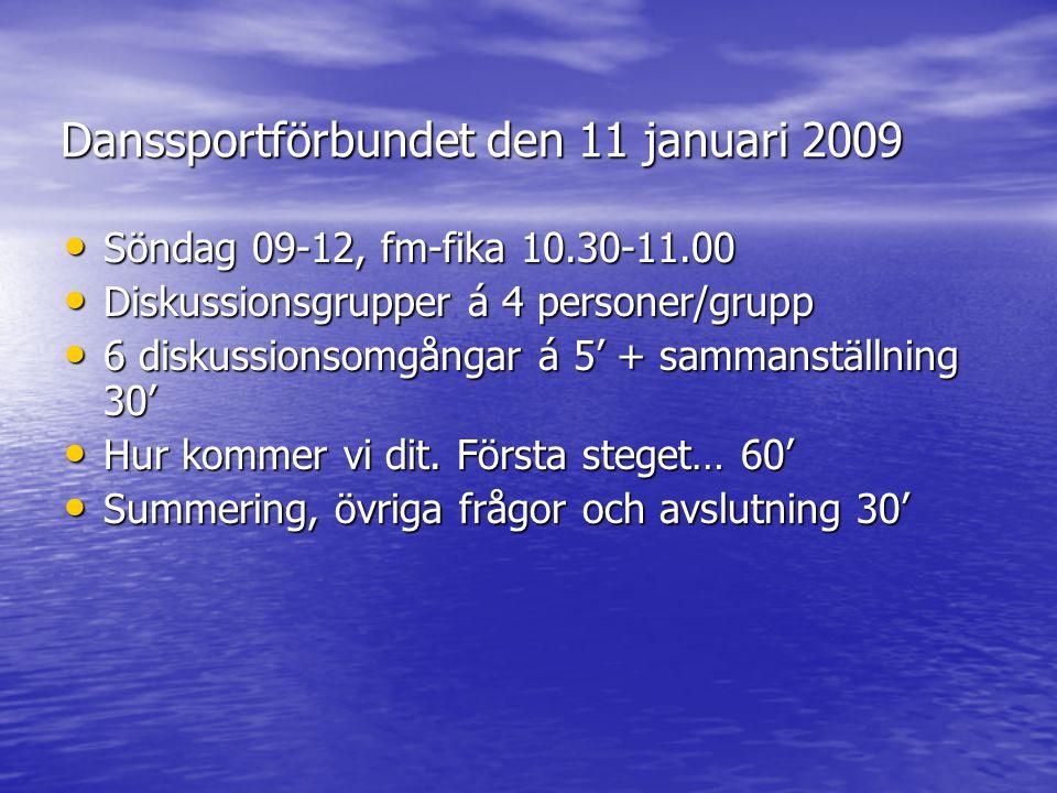 Danssportförbundet den 11 januari 2009 Söndag 09-12, fm-fika 10.30-11.00 Söndag 09-12, fm-fika 10.30-11.00 Diskussionsgrupper á 4 personer/grupp Disku