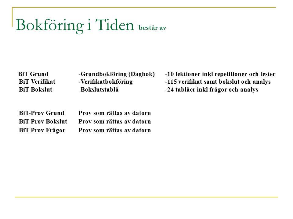 BiT Grund-Grundbokföring (Dagbok)-10 lektioner inkl repetitioner och tester BiT Verifikat-Verifikatbokföring-115 verifikat samt bokslut och analys BiT