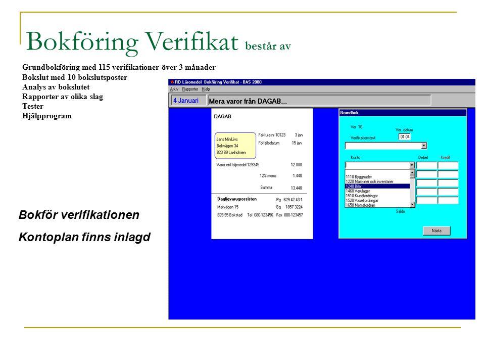 Grundbokföring med 115 verifikationer över 3 månader Bokslut med 10 bokslutsposter Analys av bokslutet Rapporter av olika slag Tester Hjälpprogram Bokföring Verifikat består av Bokför verifikationen Kontoplan finns inlagd