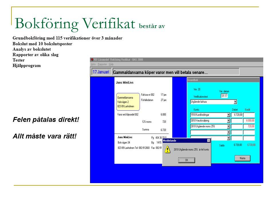 Grundbokföring med 115 verifikationer över 3 månader Bokslut med 10 bokslutsposter Analys av bokslutet Rapporter av olika slag Tester Hjälpprogram Bokföring Verifikat består av Felen påtalas direkt.