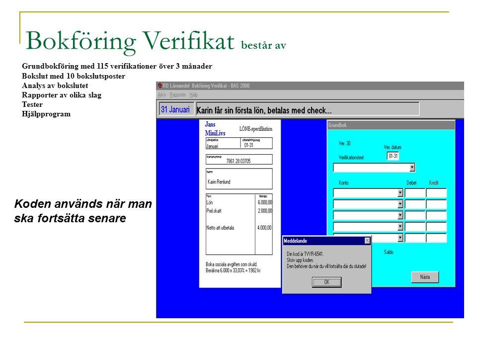 Grundbokföring med 115 verifikationer över 3 månader Bokslut med 10 bokslutsposter Analys av bokslutet Rapporter av olika slag Tester Hjälpprogram Bokföring Verifikat består av Koden används när man ska fortsätta senare
