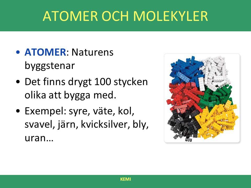 ATOMER OCH MOLEKYLER ATOMER: Naturens byggstenar Det finns drygt 100 stycken olika att bygga med. Exempel: syre, väte, kol, svavel, järn, kvicksilver,