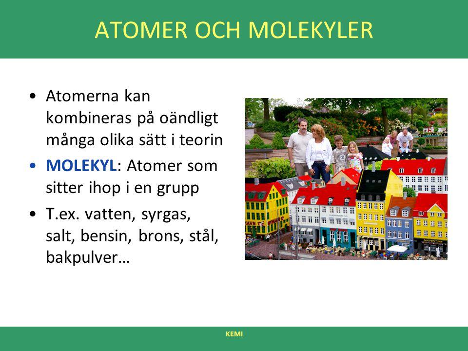 ATOMER OCH MOLEKYLER Atomerna kan kombineras på oändligt många olika sätt i teorin MOLEKYL: Atomer som sitter ihop i en grupp T.ex. vatten, syrgas, sa