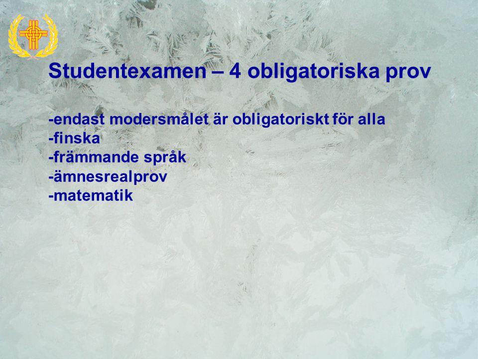 Studentexamen – 4 obligatoriska prov -endast modersmålet är obligatoriskt för alla -finska -främmande språk -ämnesrealprov -matematik