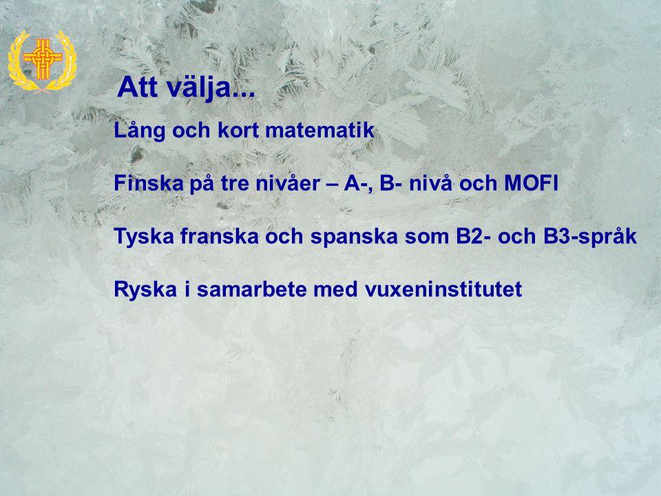 Lång och kort matematik Finska på tre nivåer – A-, B- nivå och MOFI Tyska franska och spanska som B2- och B3-språk Ryska i samarbete med vuxeninstitut