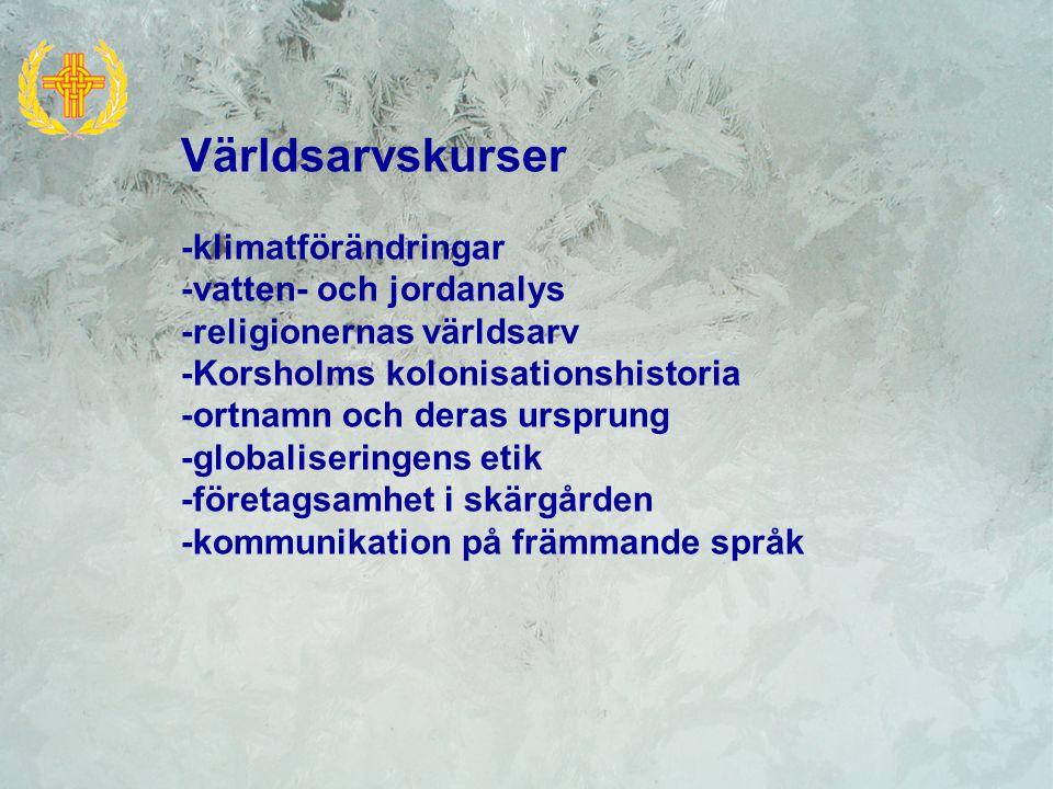 Världsarvskurser -klimatförändringar -vatten- och jordanalys -religionernas världsarv -Korsholms kolonisationshistoria -ortnamn och deras ursprung -gl