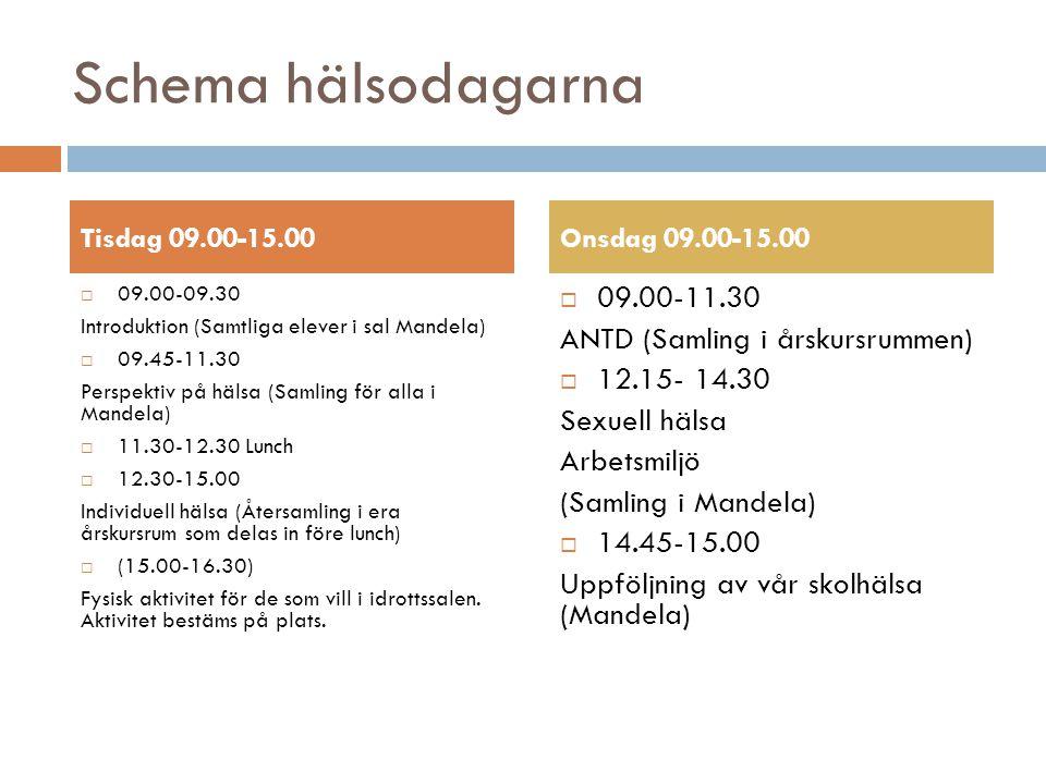 Schema hälsodagarna  09.00-09.30 Introduktion (Samtliga elever i sal Mandela)  09.45-11.30 Perspektiv på hälsa (Samling för alla i Mandela)  11.30-12.30 Lunch  12.30-15.00 Individuell hälsa (Återsamling i era årskursrum som delas in före lunch)  (15.00-16.30) Fysisk aktivitet för de som vill i idrottssalen.