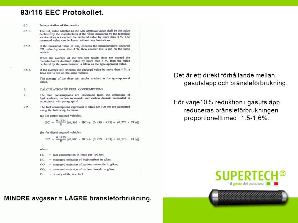 93/116 EEC Protokollet.Det är ett direkt förhållande mellan gasutsläpp och bränsleförbrukning.