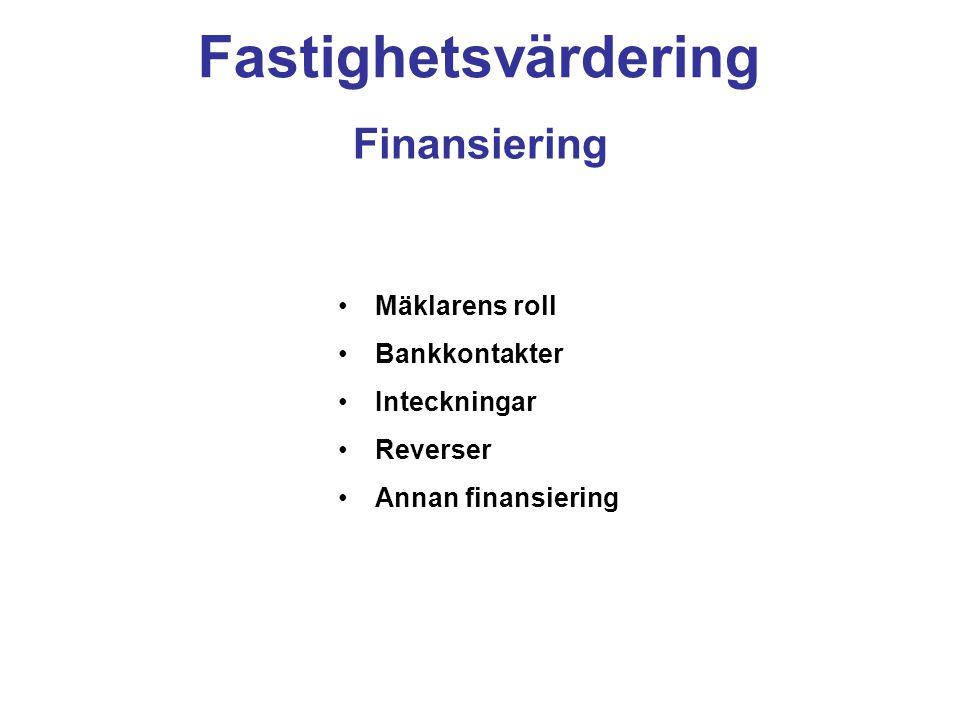 Fastighetsvärdering Finansiering Mäklarens roll Bankkontakter Inteckningar Reverser Annan finansiering