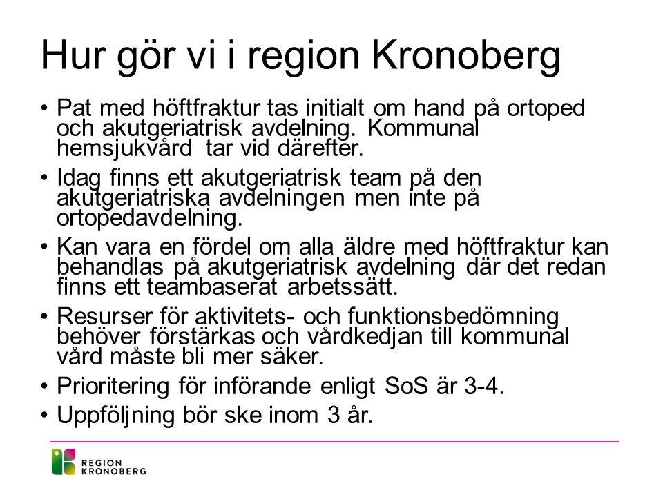 Hur gör vi i region Kronoberg Pat med höftfraktur tas initialt om hand på ortoped och akutgeriatrisk avdelning.