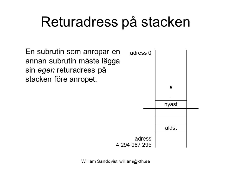 William Sandqvist william@kth.se Returadress på stacken En subrutin som anropar en annan subrutin måste lägga sin egen returadress på stacken före anropet.