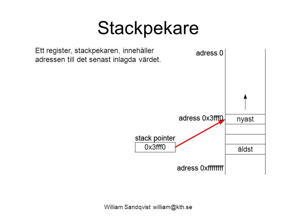 William Sandqvist william@kth.se Stackpekare Ett register, stackpekaren, innehåller adressen till det senast inlagda värdet.