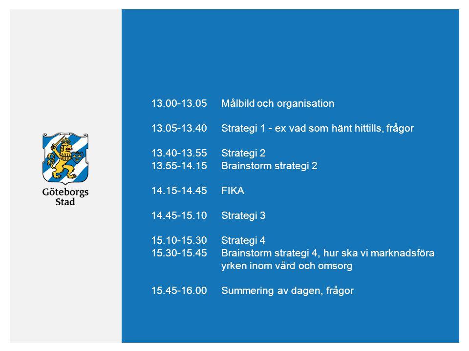 13.00-13.05Målbild och organisation 13.05-13.40Strategi 1 - ex vad som hänt hittills, frågor 13.40-13.55Strategi 2 13.55-14.15Brainstorm strategi 2 14.15-14.45FIKA 14.45-15.10Strategi 3 15.10-15.30Strategi 4 15.30-15.45Brainstorm strategi 4, hur ska vi marknadsföra yrken inom vård och omsorg 15.45-16.00Summering av dagen, frågor