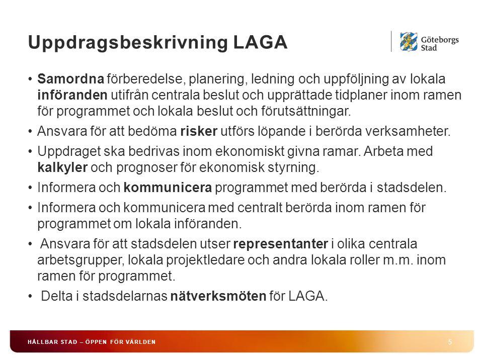 Uppdragsbeskrivning LAGA 5 HÅLLBAR STAD – ÖPPEN FÖR VÄRLDEN Samordna förberedelse, planering, ledning och uppföljning av lokala införanden utifrån centrala beslut och upprättade tidplaner inom ramen för programmet och lokala beslut och förutsättningar.