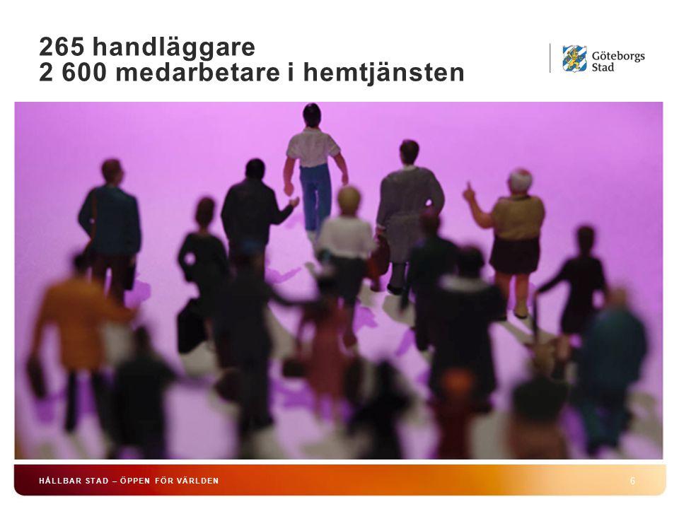 265 handläggare 2 600 medarbetare i hemtjänsten 6 HÅLLBAR STAD – ÖPPEN FÖR VÄRLDEN