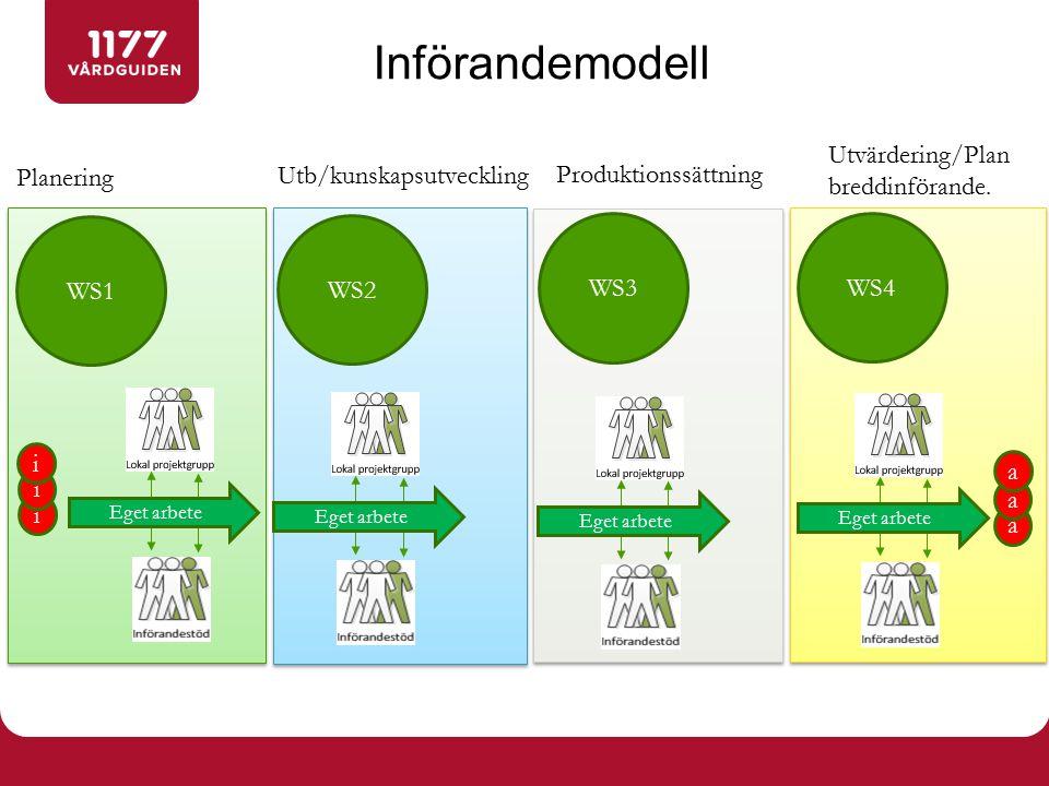 Införandemodell WS1 WS2 WS3 WS4 i Planering Utb/kunskapsutveckling Produktionssättning Utvärdering/Plan breddinförande.