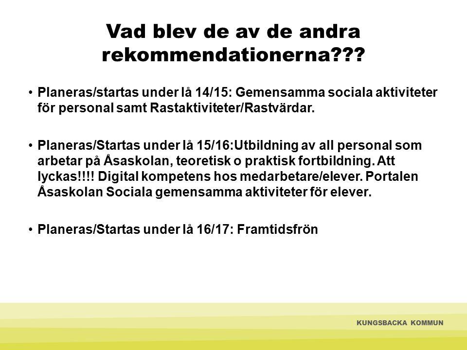 Vad blev de av de andra rekommendationerna??? Planeras/startas under lå 14/15: Gemensamma sociala aktiviteter för personal samt Rastaktiviteter/Rastvä