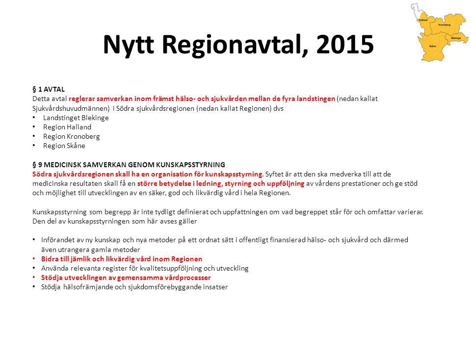 Nytt Regionavtal, 2015 § 1 AVTAL Detta avtal reglerar samverkan inom främst hälso- och sjukvården mellan de fyra landstingen (nedan kallat Sjukvårdshuvudmännen) i Södra sjukvårdsregionen (nedan kallat Regionen) dvs Landstinget Blekinge Region Halland Region Kronoberg Region Skåne § 9 MEDICINSK SAMVERKAN GENOM KUNSKAPSSTYRNING Södra sjukvårdsregionen skall ha en organisation för kunskapsstyrning.