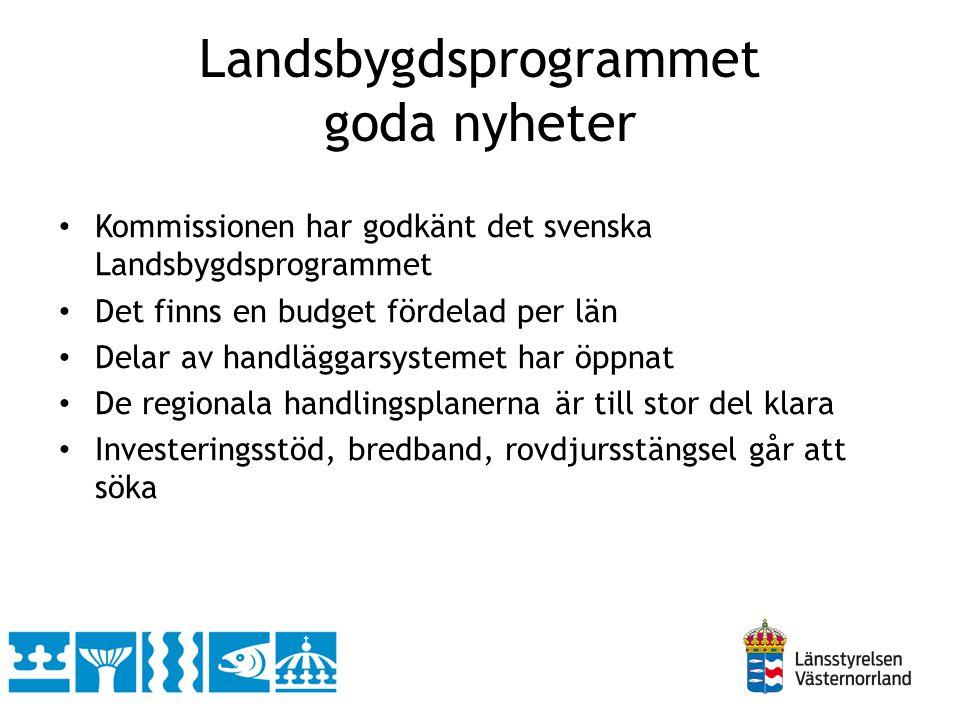 Landsbygdsprogrammet goda nyheter Kommissionen har godkänt det svenska Landsbygdsprogrammet Det finns en budget fördelad per län Delar av handläggarsystemet har öppnat De regionala handlingsplanerna är till stor del klara Investeringsstöd, bredband, rovdjursstängsel går att söka