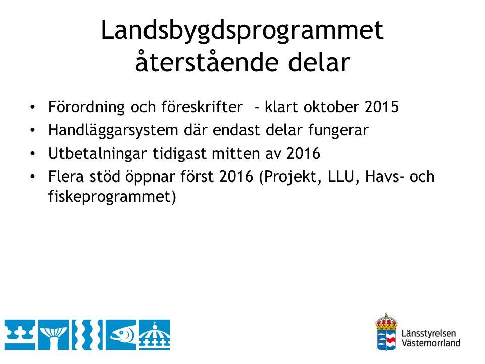 Landsbygdsprogrammet återstående delar Förordning och föreskrifter - klart oktober 2015 Handläggarsystem där endast delar fungerar Utbetalningar tidigast mitten av 2016 Flera stöd öppnar först 2016 (Projekt, LLU, Havs- och fiskeprogrammet)