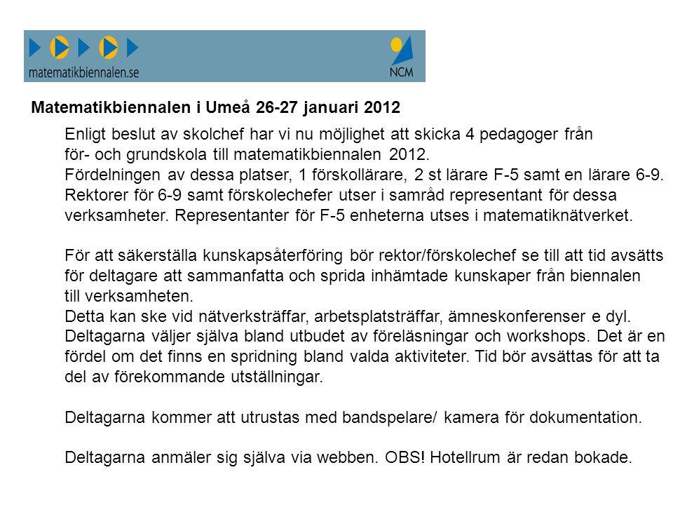 Matematikbiennalen i Umeå 26-27 januari 2012 Enligt beslut av skolchef har vi nu möjlighet att skicka 4 pedagoger från för- och grundskola till matema