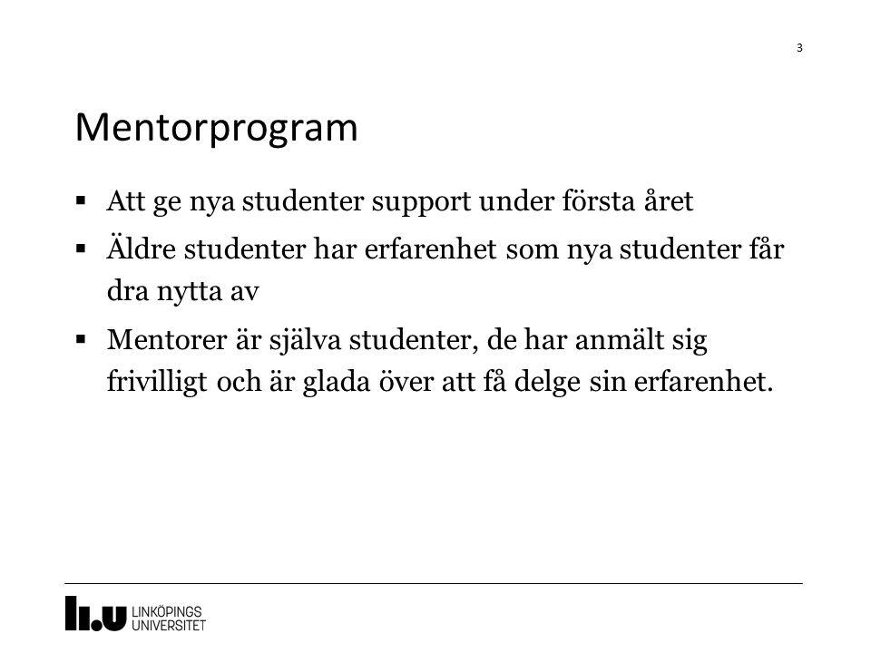 Mentorprogram  Att ge nya studenter support under första året  Äldre studenter har erfarenhet som nya studenter får dra nytta av  Mentorer är själva studenter, de har anmält sig frivilligt och är glada över att få delge sin erfarenhet.