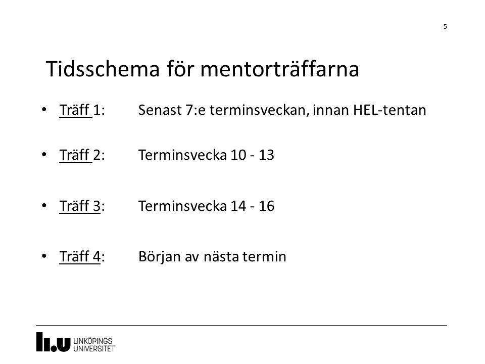 Träff 1:Senast 7:e terminsveckan, innan HEL-tentan Träff 2:Terminsvecka 10 - 13 Träff 3: Terminsvecka 14 - 16 Träff 4: Början av nästa termin 5 Tidsschema för mentorträffarna