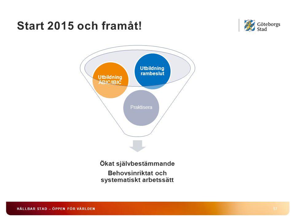 Start 2015 och framåt! 17 HÅLLBAR STAD – ÖPPEN FÖR VÄRLDEN Ökat självbestämmande Behovsinriktat och systematiskt arbetssätt Praktisera Utbildning ÄBIC